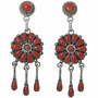 Vintage Coral Cluster Silver Post Dangle Earrings 34078