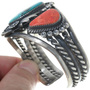 Kings Manassa Turquoise Coral Silver Cuff Bracelet