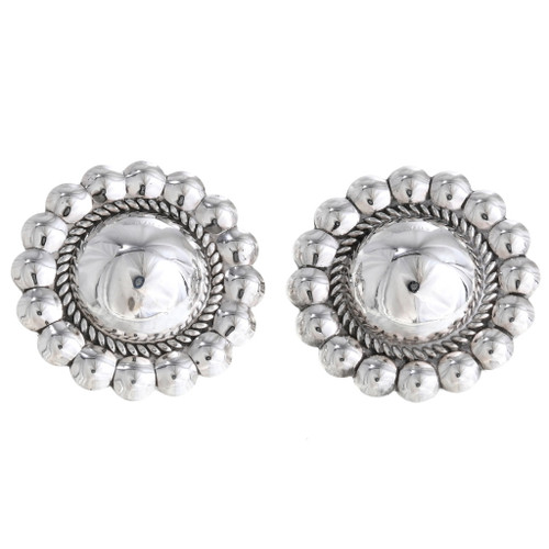 Silver Oval Large Stud Concho Style Pearl Sheen Design Metal Earrings