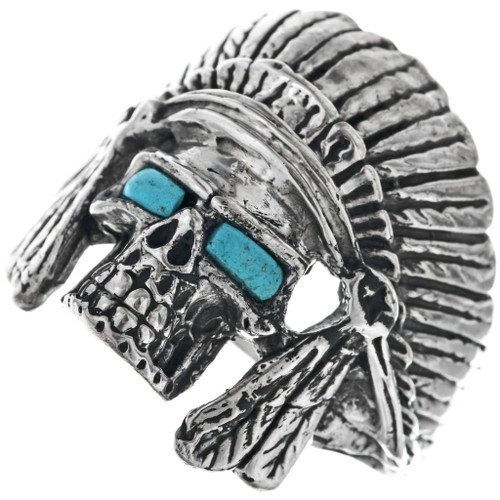 daa520bfb3203 Indian Chief Headdress Turquoise Skull Ring Sterling Mens Any Size 0369