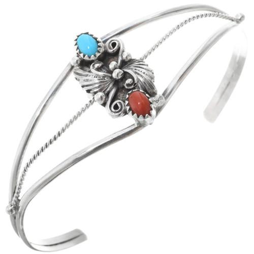 Largo Navajo Indian Sterling Silver Coral 2 Stone Leaf Bracelet