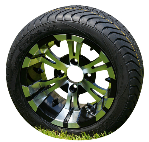 """12"""" Vampire Black/Machined Wheels and 215/40-12 DOT Tires 215/40-12 - Set of 4"""