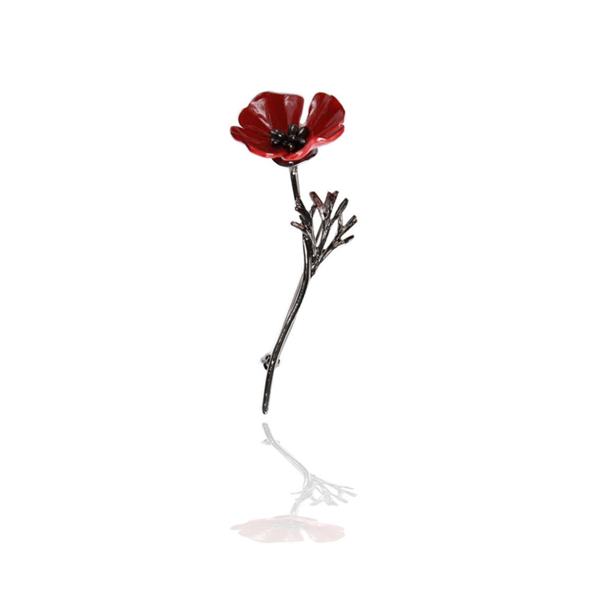 Gunmetal Red Enameled Poppy Flower Pin