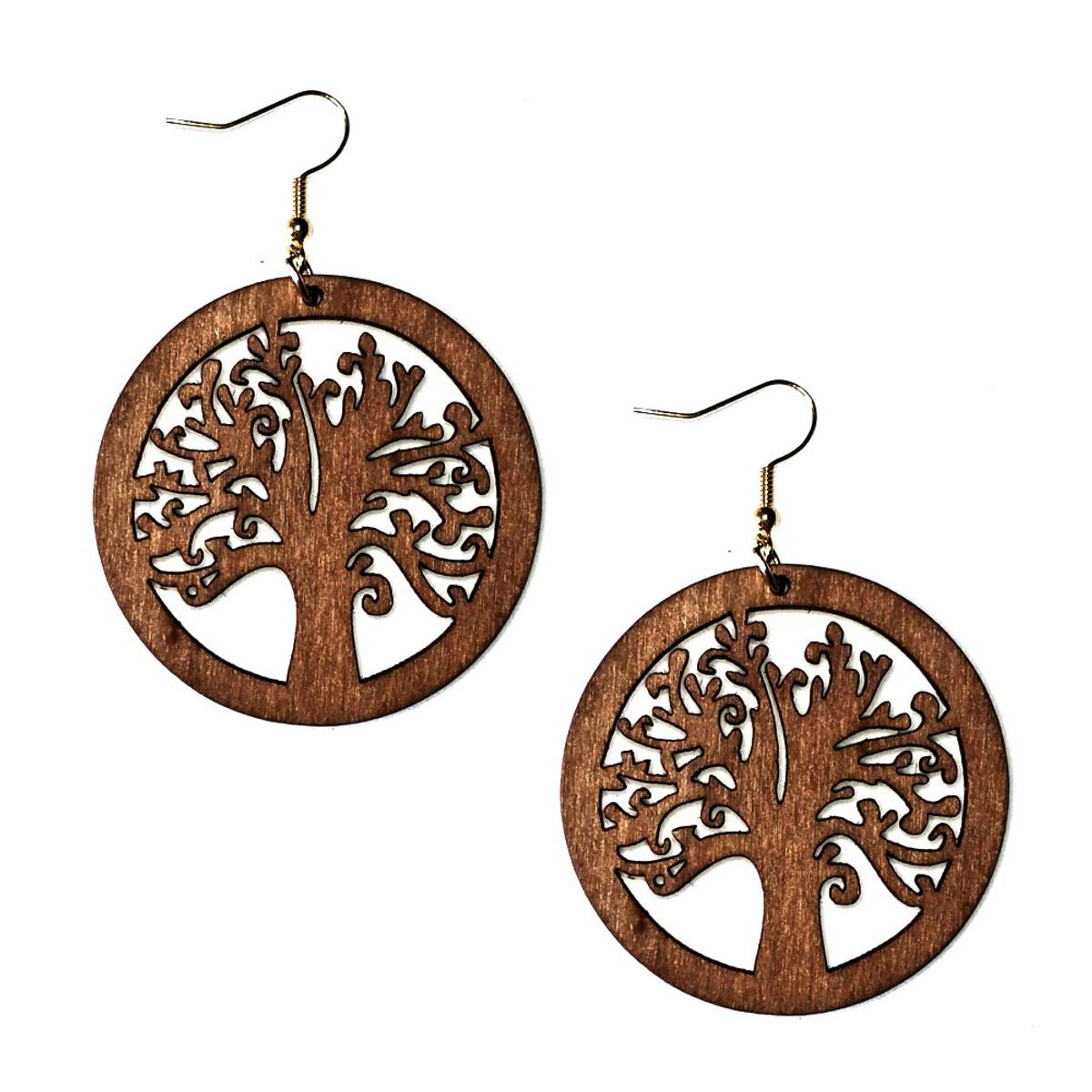 Lightweight Brown Wood Tree Of Life Circle Drop Earrings