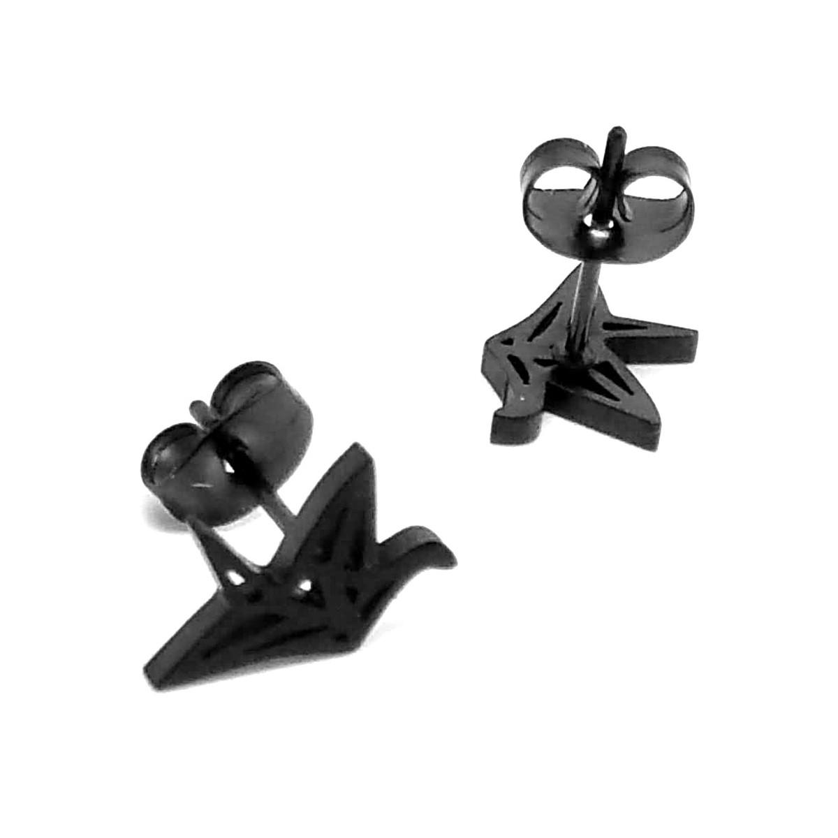Tiny Black Origami Crane Outline Post Earrings - Joji Boutique | 1200x1200