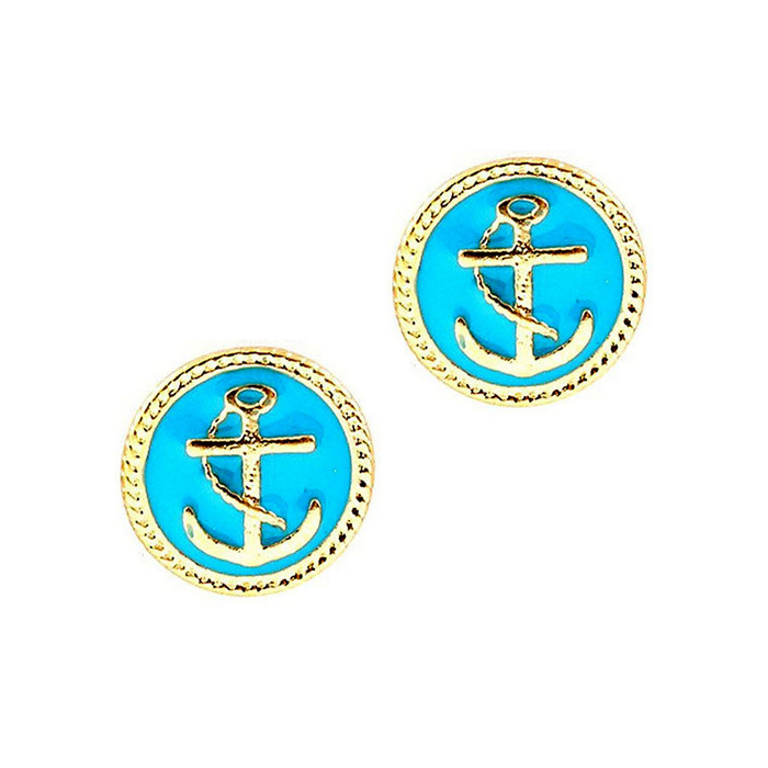 Small Golden Anchor Post Earrings with Aqua Blue Enamel