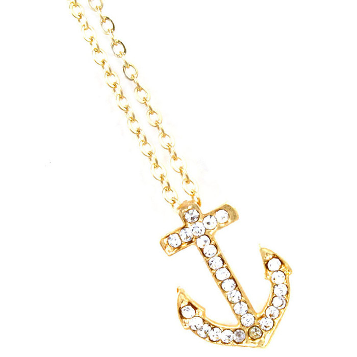 Golden Crystal Anchor Necklace