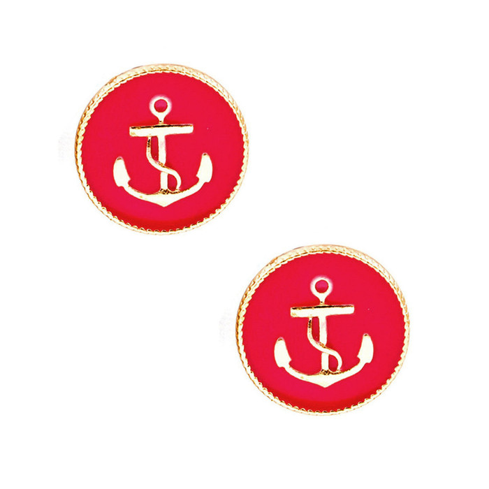 Golden Anchor Post Earrings with Fuchsia Pink Enamel