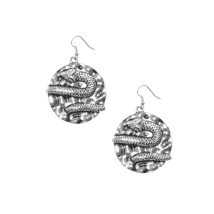 Antiqued Silver Snake Medallion Drop Earrings