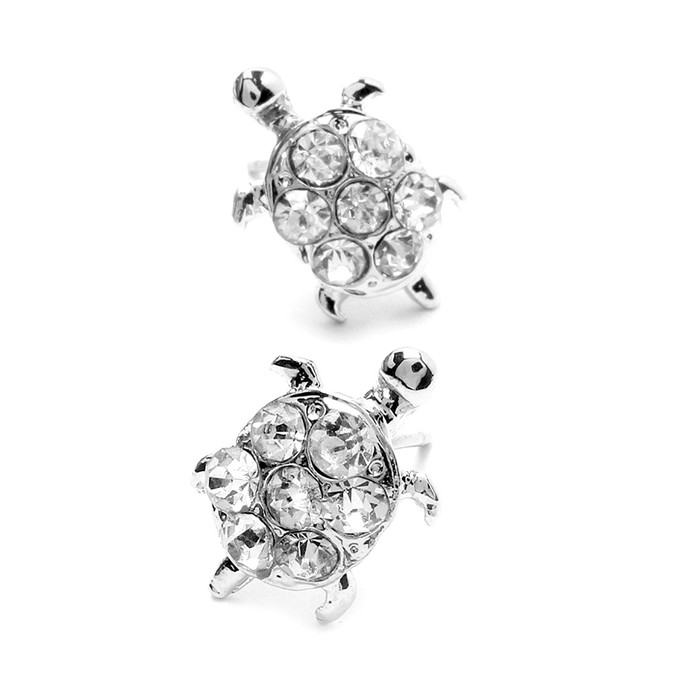 Crystal-Covered Turtle Post Earrings