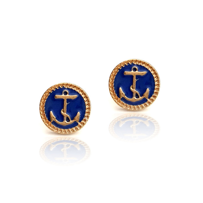 Golden Anchor Post Earrings with Navy Blue Enamel