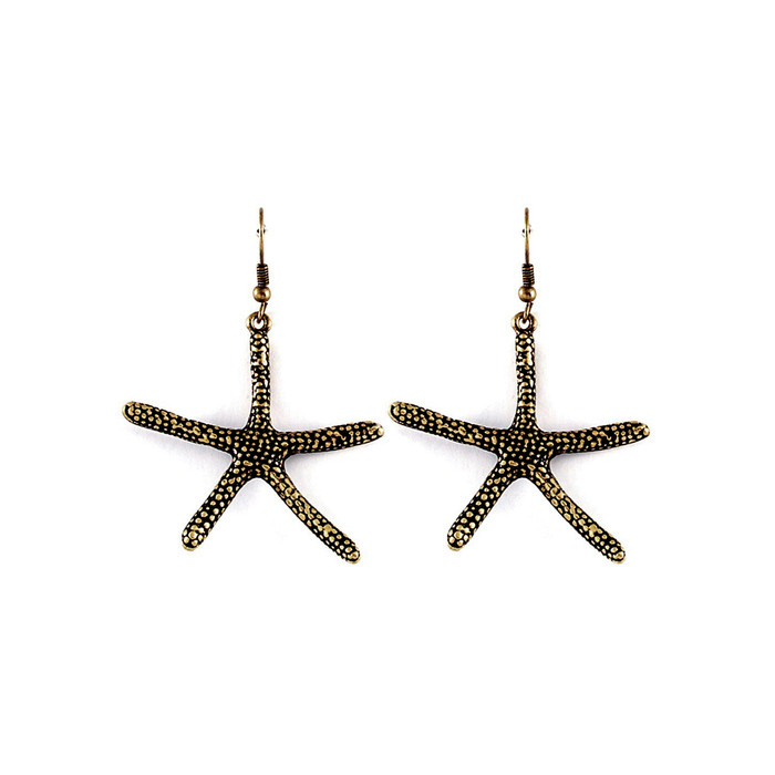 Antiqued Gold Starfish Drop Earrings