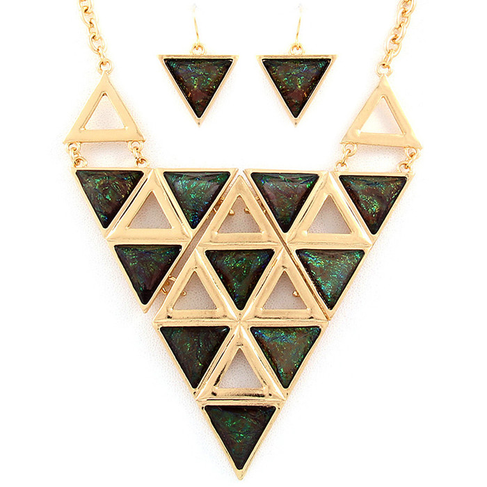 Gold and Opalescent Green Geometric Necklace and Earring Set