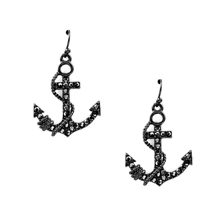 Gunmetal Bejeweled Anchor & Rope Drop Earrings