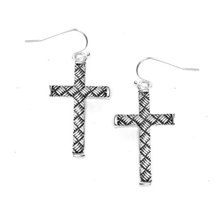 Textured Silver Cross Drop Earrings