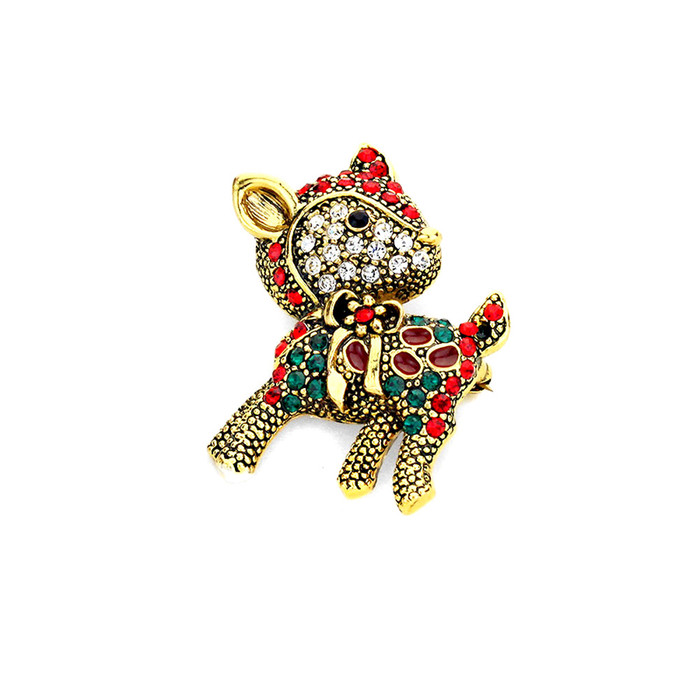 Bejeweled Antiqued Golden  Reindeer Holiday Pin