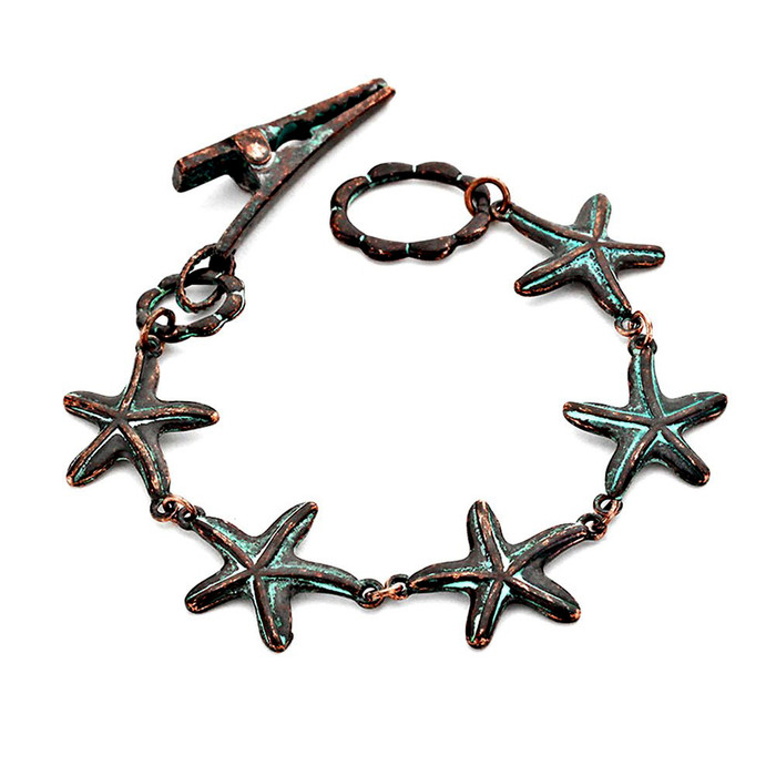 Patina Starfish Link Bracelet with Clip Clasp