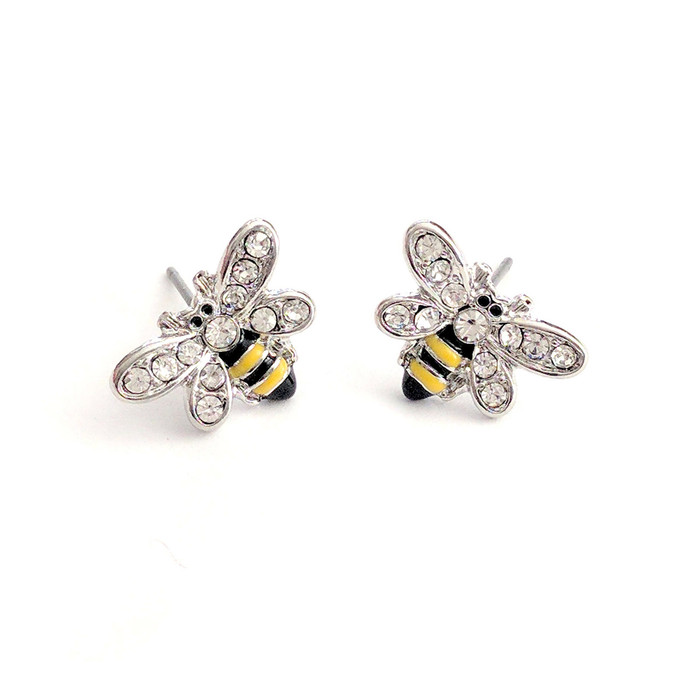 Tiny Silver Bee Post Earrings with Enamel and Crystal Detail
