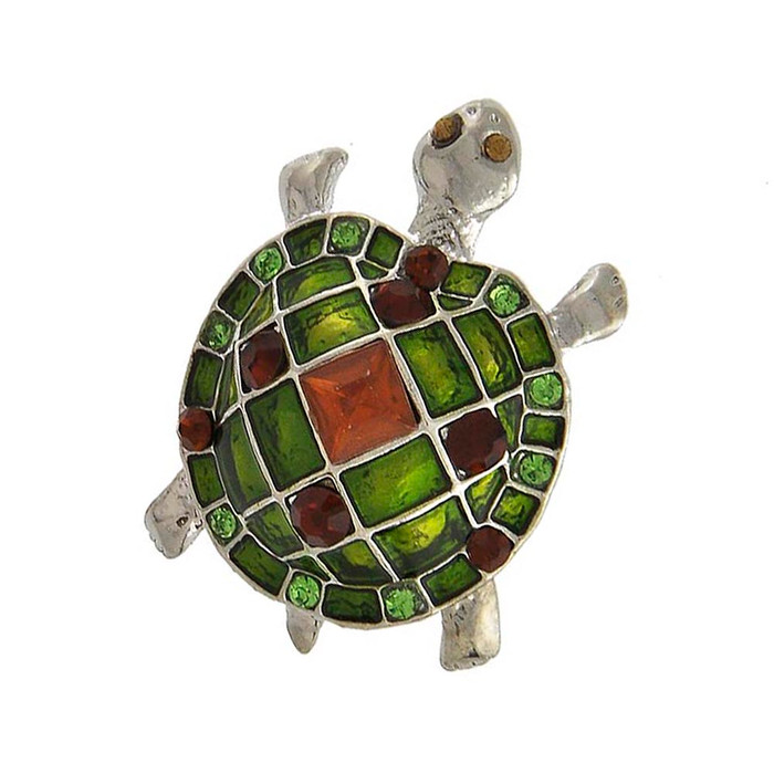 Bejeweled and Enameled Green Turtle/Tortoise Pin