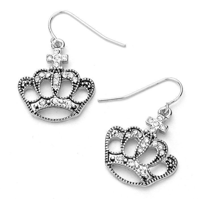 Silver Bejeweled Crown Drop Earrings
