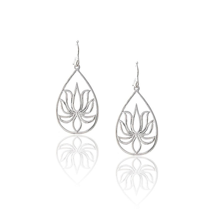 Silver Lotus Outline Teardrop Earrings