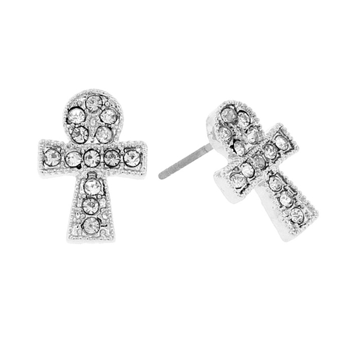 Mini Bejeweled Silver Egyptian Ankh Post Earrings