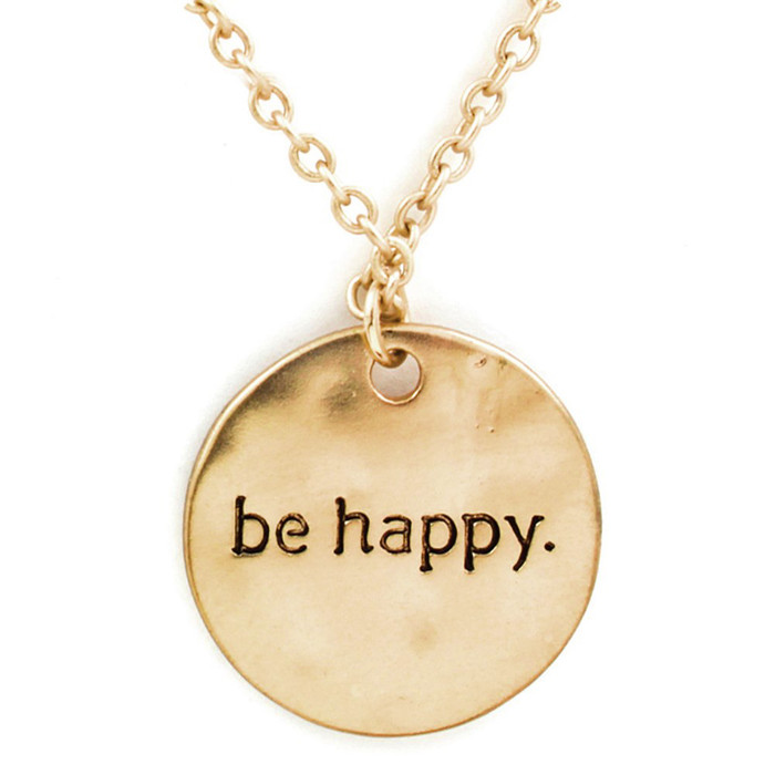 Golden 'Be Happy' Necklace