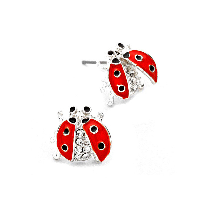 Silver Bejeweled and Enameled Ladybug Post Earrings