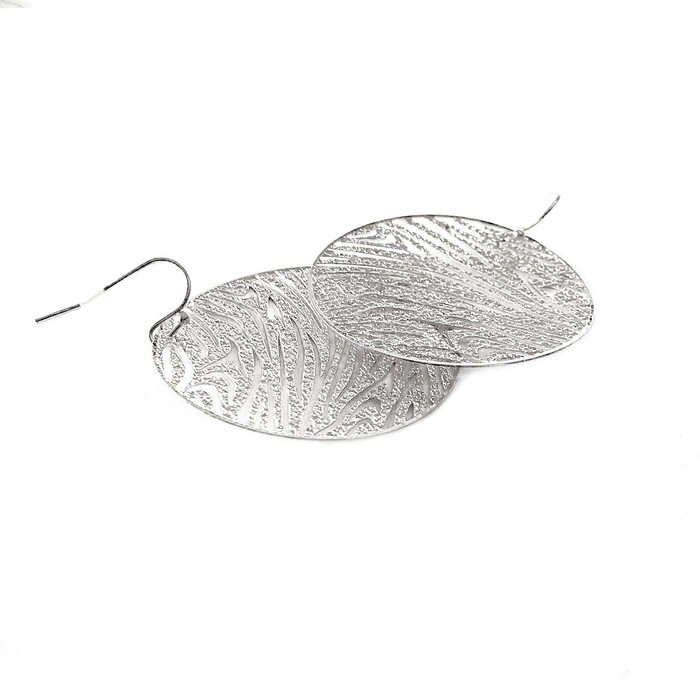 Feather-Light Silver Tiger/Zebra-Stripe Earrings