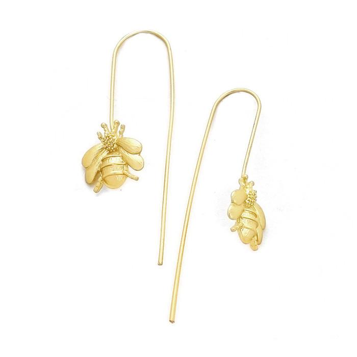 Golden Bee Long Hook Drop Earrings