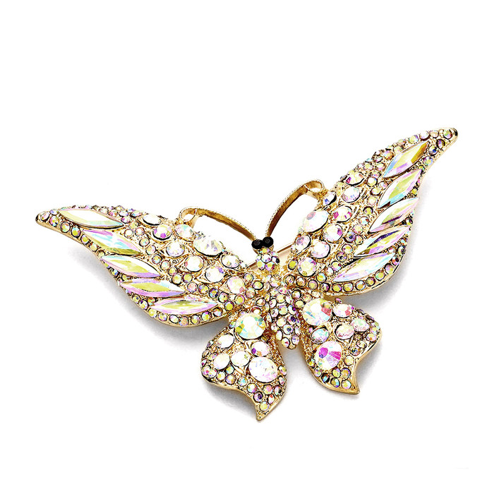 Large Deluxe Aurora Borealis Butterfly Crystal Pin