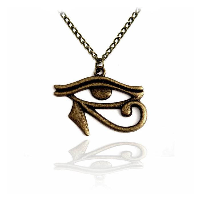 Antiqued Gold Egyptian Eye Of Horus Necklace