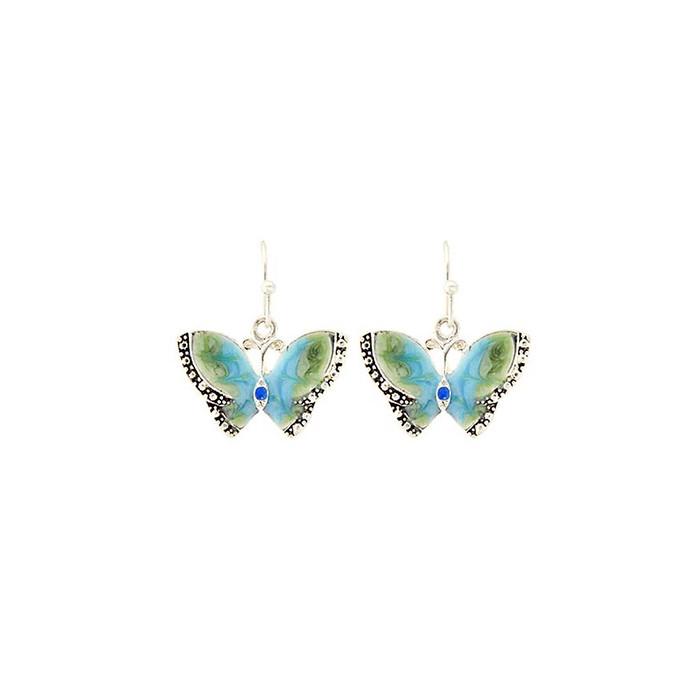 Blue-Green Enameled Butterfly Earrings
