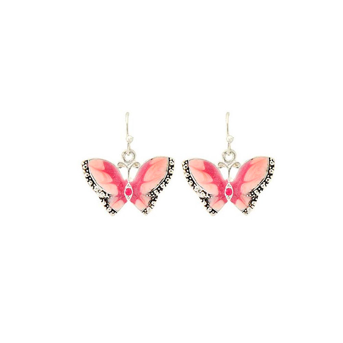 Silver Butterfly Drop Earrings with Pink Enamel Swirls