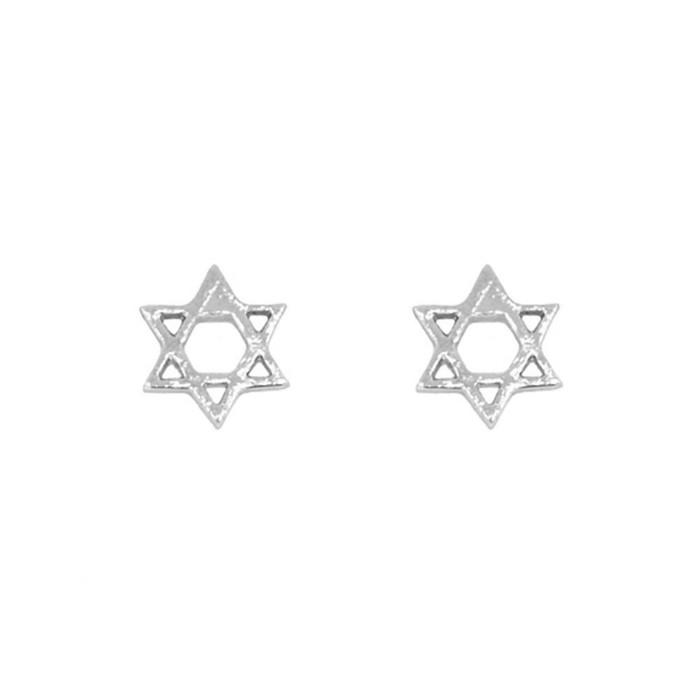 Silver Star Of David Post Earrings