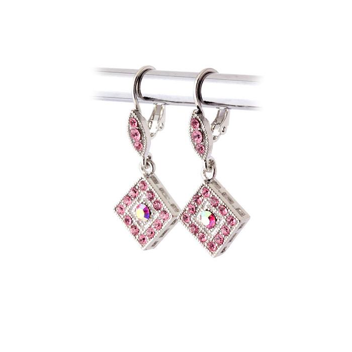 Pink Austrian Crystal Leverback Earrings