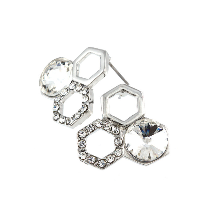 Silver Crystal Honeycomb Trio Post Earrings