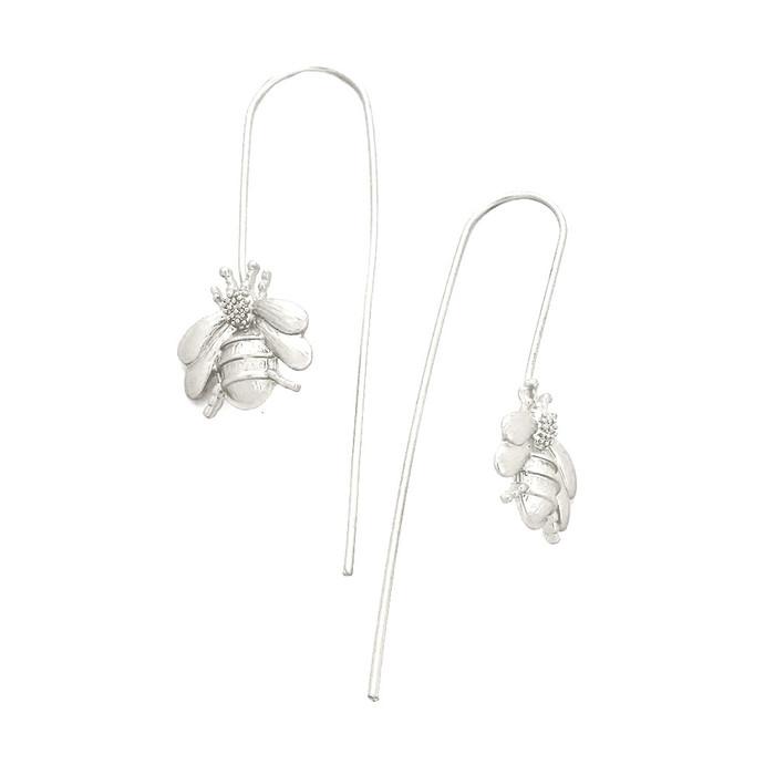 Matte Silver Bee Long Hook Earrings