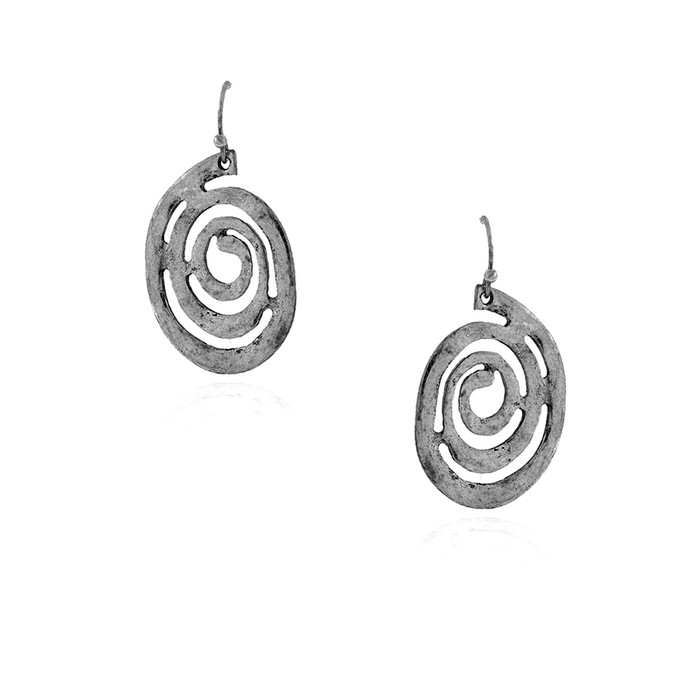 Hammered Silver Spiral Drop Earrings