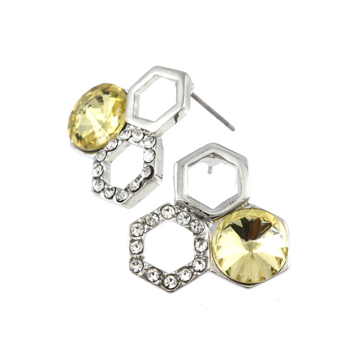 Silver  Honeycomb Post Earrings with Golden Crystals