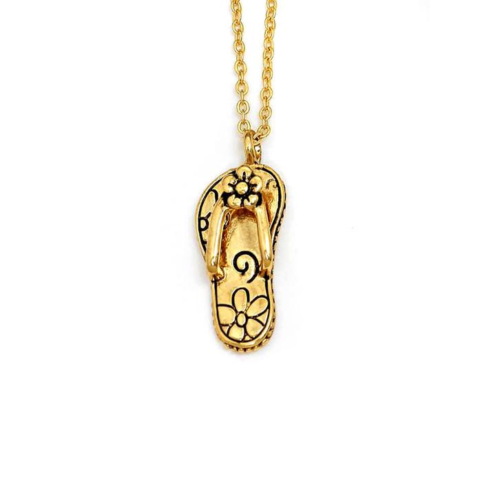 Golden Flowered Flip-Flop Necklace