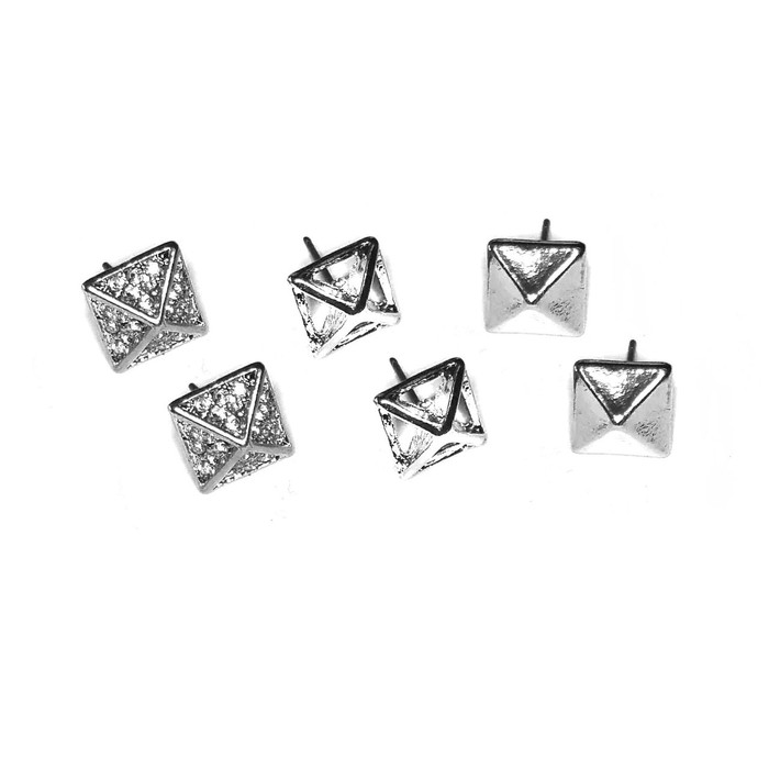 Silver Pyramid Post Earring Set