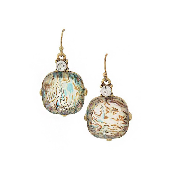 Pastel Swirl Drop Earrings with Crystal Detail