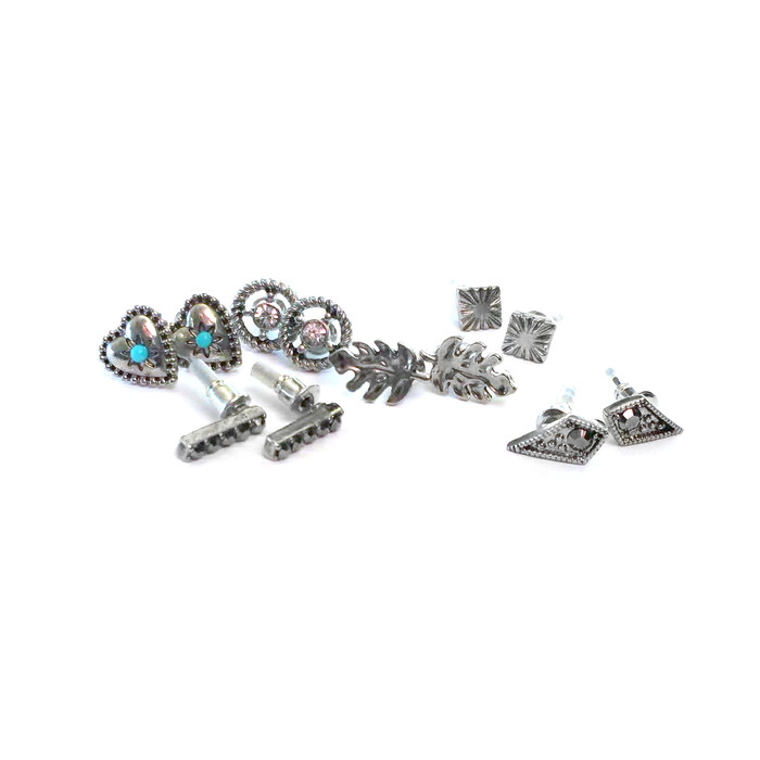 6-Pair Antiqued Silver Post Earring Set