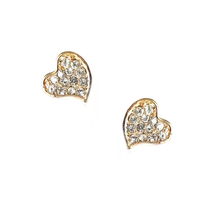 Mini Golden Crystal Heart Post Earrings