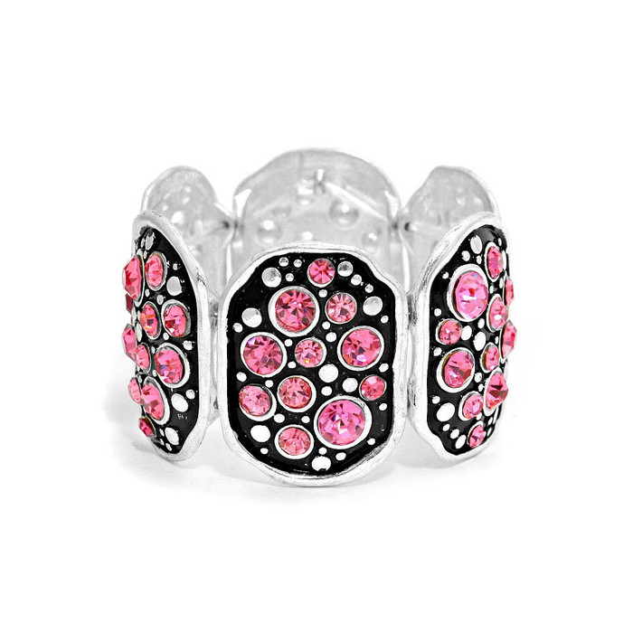 Wide Silver Panel Bracelet with Black Enamel and Bright Pink Crystals