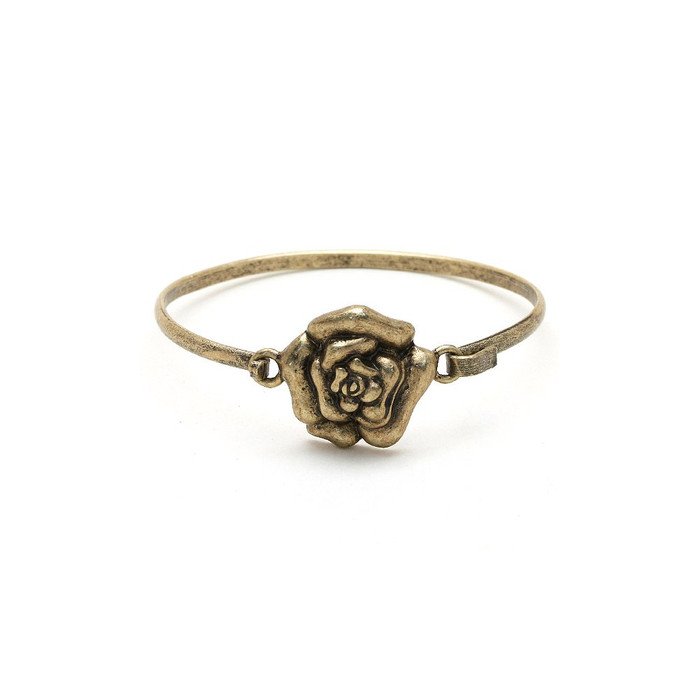 Antiqued Gold Rose Bangle