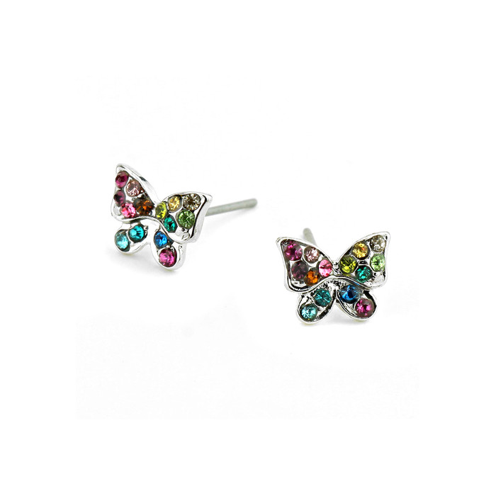 Mini Multicolored Bejeweled Butterfly Post Earrings