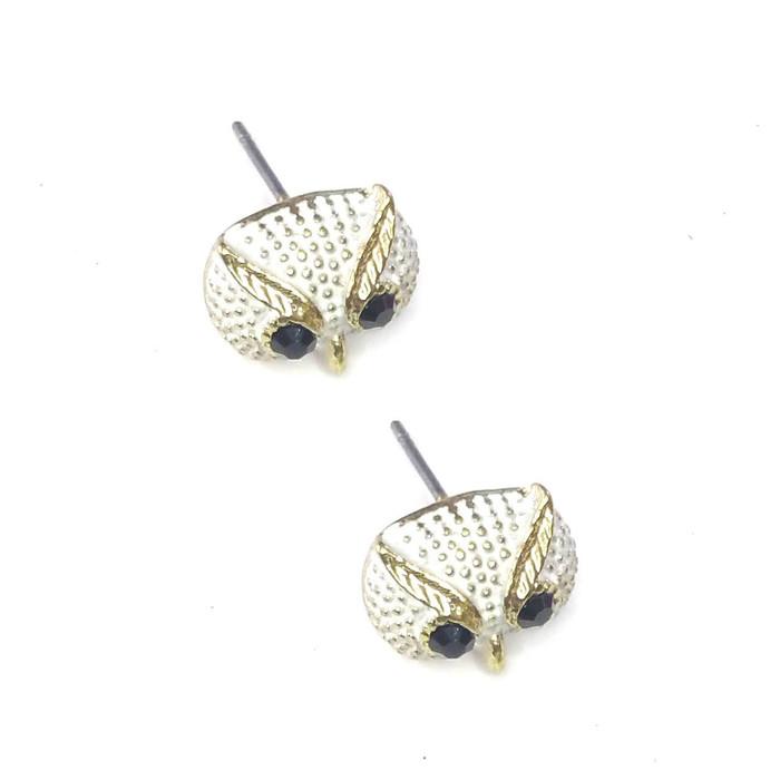 Mini Ivory Owl Face Post Earrings