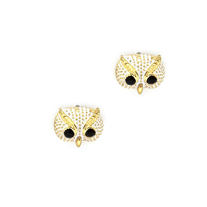 Mini Ivory Owl Face Post Earrings